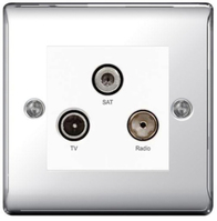 BG Nexus Metal Polished Chrome Triplex TV Socket NPC67W