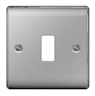 BG Nexus Metal Brushed Steel 1G Grid Plate GNBS1