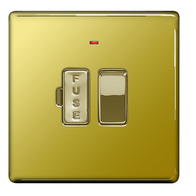 BG Nexus Polished Brass Screwless 13A Switched Fused Connection Unit with Neon FPB52