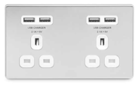 BG Nexus Polished Chrome Screwless 4x USB Double Unswitched Socket FPC24U44W