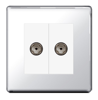 BG Nexus Polished Chrome Screwless Double Coax TV Socket FPC61W