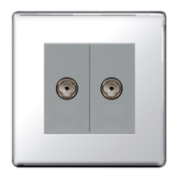BG Nexus Polished Chrome Screwless Double Coax TV Socket FPC61G