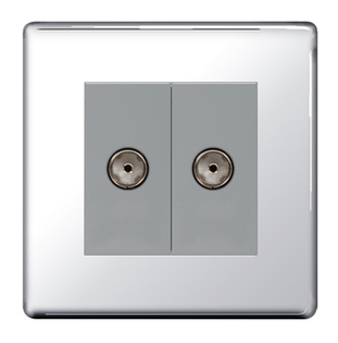 BG Nexus Polished Chrome Screwless Double Satellite Socket FPC642G