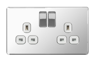 BG Nexus Polished Chrome Screwless Double Socket FPC22W