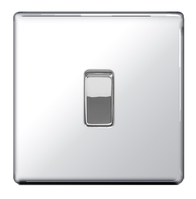 BG Nexus Polished Chrome Screwless Light Switch 1G FPC12