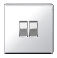BG Nexus Polished Chrome Screwless 2W & INT Light Switch  FPC2WINT