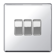 BG Nexus Polished Chrome Screwless Light Switch 3G FPC43