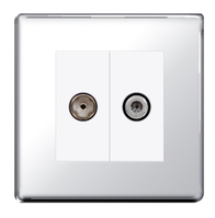 BG Nexus Polished Chrome Screwless Double Satellite Socket FPC642