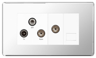 BG Nexus Polished Chrome Screwless Triplex TV-FM-SAT & Return Tel Socket FPC68W