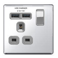 BG Nexus Polished Chrome Screwless USB Single Socket FPC21UG