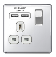 BG Nexus Polished Chrome Screwless USB Single Socket FPC21UW