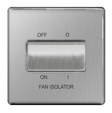 BG Nexus Brushed Steel Screwless Fan Isolator Switch FBS15