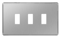 BG Screwless Flat Plate Brushed Steel Grid Plate GFBS3