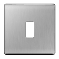 BG Screwless Flat Plate Brushed Steel Grid Plate GFBS1