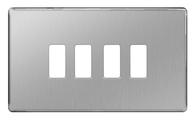 BG Screwless Flat Plate Brushed Steel Grid Plate GFBS4