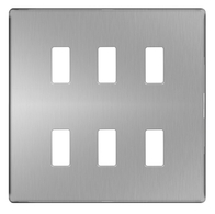 BG Screwless Flat Plate Brushed Steel Grid Plate GFBS6