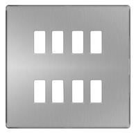 BG Screwless Flat Plate Brushed Steel Grid Plate GFBS8