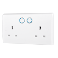 BG Smart Home Power, Double Switched 13A, White Moulded Slim Profile