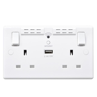 BG White Plastic 2 Gang WI-FI Range Extender 13A Socket with USB 822UWR