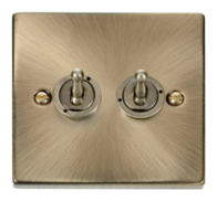 Scolmore Click Deco Antique Brass Toggle Switch 2 Gang 2Way VPAB422