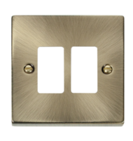 Click Deco Antique Brass 2 Gang GridPro Frontplate VPAB20402