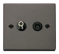 Scolmore Click Deco Black Nickel Coax & Satellite Socket VPBN170BK