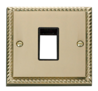 Click Deco Georgian Brass 1G Aperture Single Plate GCBR401