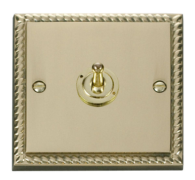 Click Deco Georgian Brass Toggle Switch 1G 2Way GCBR421 image 1