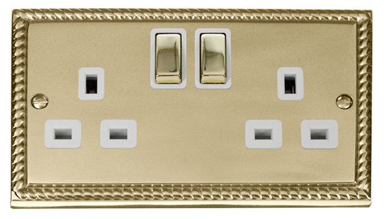 Click Deco Georgian Brass Double Socket GCBR536WH image 1