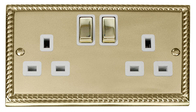 Click Deco Georgian Brass Double Socket GCBR536WH
