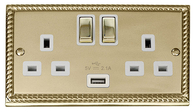 Click Deco Georgian Brass Double Socket USB GCBR570WH
