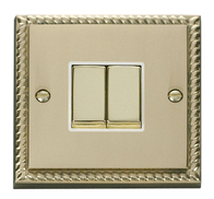 Scolmore Click Deco Georgian Style Ingot Light Switch 2 Gang 2Way GCBR412