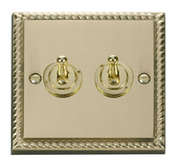 Scolmore Click Deco Georgian Style  Toggle Switch 2 Gang 2Way GCBR422