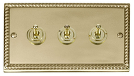 Scolmore Click Deco Georgian Style Toggle Switch 3 Gang 2Way GCBR423