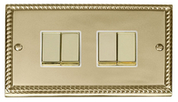 Scolmore Click Deco Georgian Style Ingot Light Switch 4 Gang 2Way GCBR414