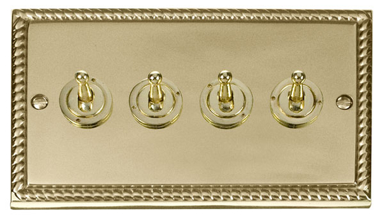 Click Deco Georgian Brass Toggle Switch 4G 2Way GCBR424 image 1