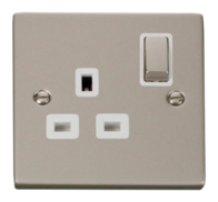 Click Deco Pearl Nickel 13Amp Single Switch Socket VPPN535