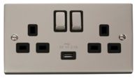 Click Deco Pearl Nickel 13Amp Twin Switch Socket with USB VPPN570BK