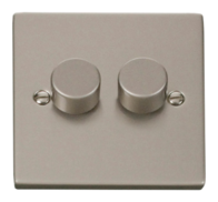 Click Deco Pearl Nickel 2 Gang 2Way Dimmer VPPN152