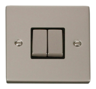 Click Deco Pearl Nickel 2 Gang 2Way Switch VPPN412BK
