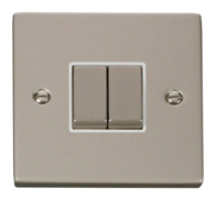 Click Deco Pearl Nickel 2 Gang 2Way Switch VPPN412