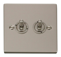 Click Deco Pearl Nickel 2 Gang 2Way Toggle Switch VPPN422