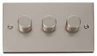 Click Deco Pearl Nickel 3 Gang 2Way Dimmer VPPN153