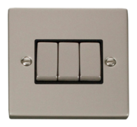 Click Deco Pearl Nickel 3 Gang 2Way Switch VPPN413BK