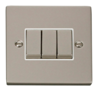 Click Deco Pearl Nickel 3 Gang 2Way Switch VPPN413