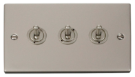 Click Deco Pearl Nickel 3Gang 2Way Toggle Switch VPPN423