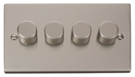 Click Deco Pearl Nickel 4 Gang 2Way Dimmer VPPN154