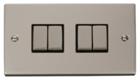 Click Deco Pearl Nickel 4 Gang 2Way Switch VPPN414BK