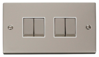 Click Deco Pearl Nickel 4 Gang 2Way Switch VPPN414