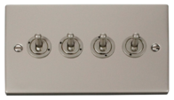 Click Deco Pearl Nickel 4Gang 2Way Toggle Switch VPPN424
